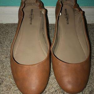 Faux Leather Tan Ballet Flats
